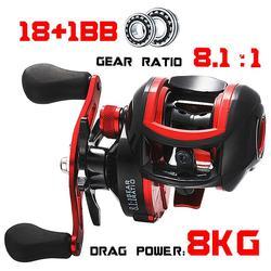 LIZARD Baitcasting Reel High Speed 8.1:1 Low Profile Reel Bait Casting Fishing Reel 18+1BB Max Drag 8KG Carretilha De Pesca