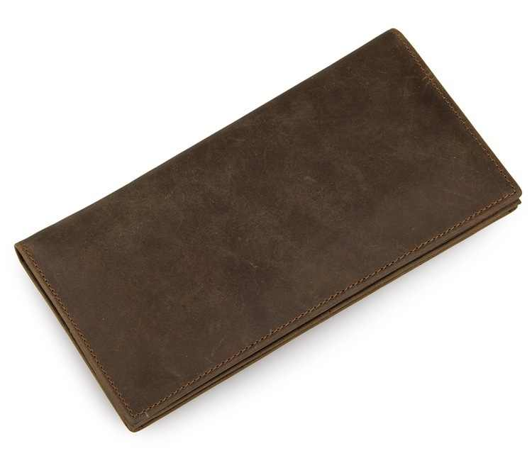 MAHEU Fashion Vintage Men Women Long Purse Wallet Credit Card Inner Zip Wallets Bifold Crazy Horse Long Wallet Male Female Purse