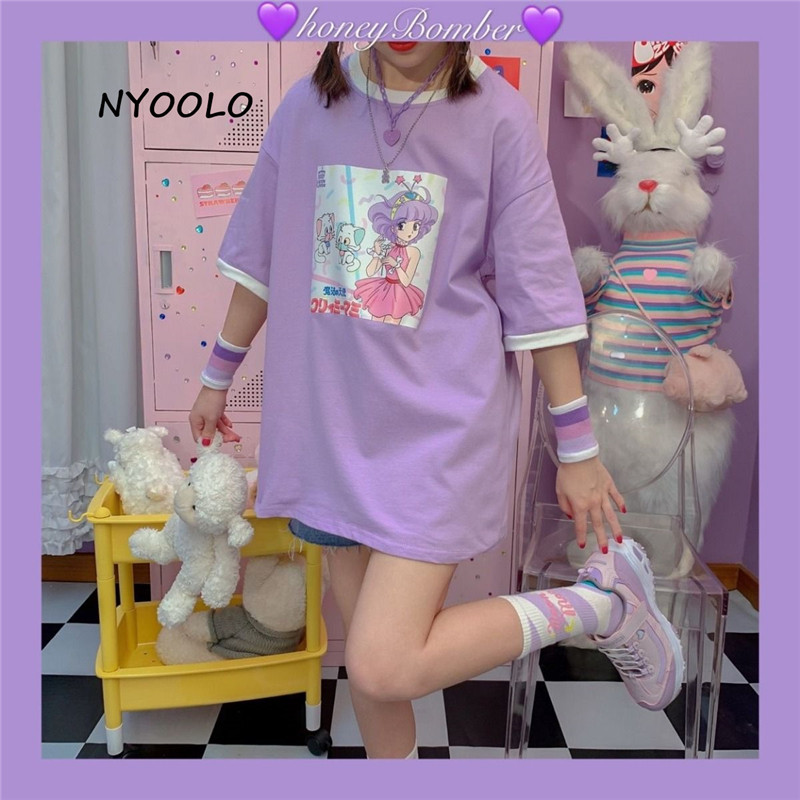 NYOOLO Harajuku Japan Style Cartoon Magical Angel Creamy Mami Print Short Sleeve T-shirt Women Summer O-neck Tee Shirt Girls Top
