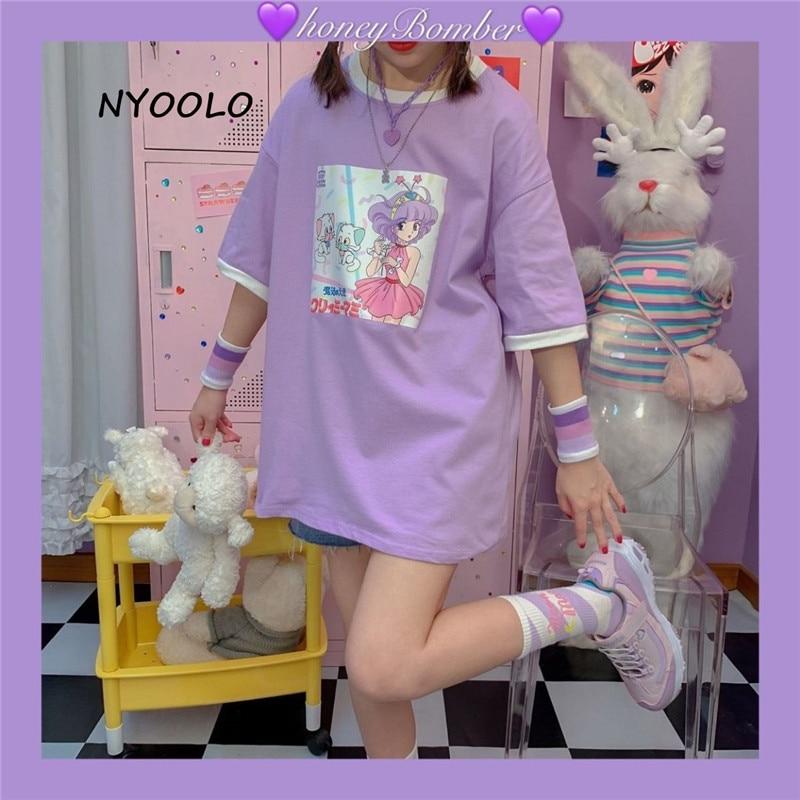 NYOOLO Harajuku Japan Style Cartoon Magical Angel Creamy Mami Print Short Sleeve T-shirt Women Summer O-neck Tee Shirt Girls Top