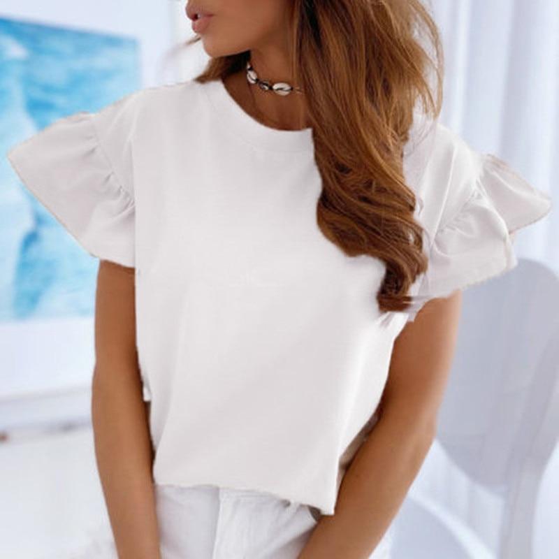 Femmes d'été À Manches Courtes T-Shirt Blanc Élégant Papillon Manches Chemise Dames Couleur Unie O-cou T-Shirt Grande Taille Femmes hauts