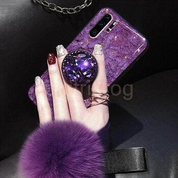 Funda de teléfono verde gema de lámina de oro epoxi para Huawei Honor Mate 30 20 10 Pro P30 P20 P10 Lite 8X 9X con cubierta de cordón de soporte de anillo