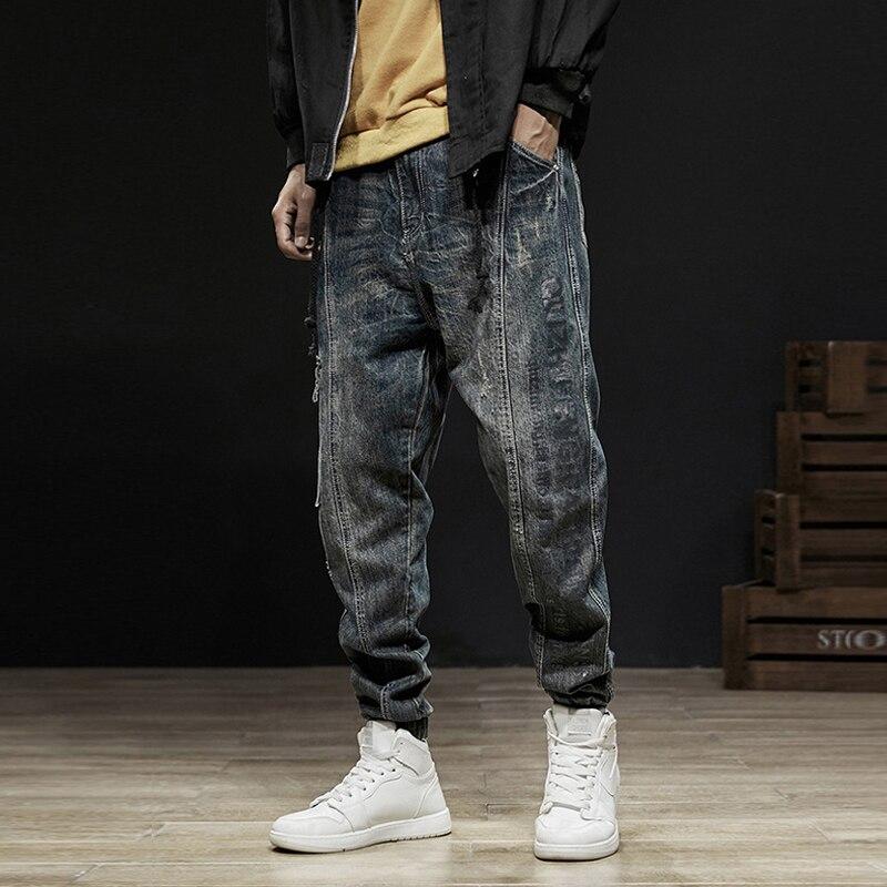 Japanese Style Fashion Men Jeans Retro Vintage Designer Ripped Harem Jeans Denim Cargo Pants Spliced Hip Hop Jeans Men Joggers