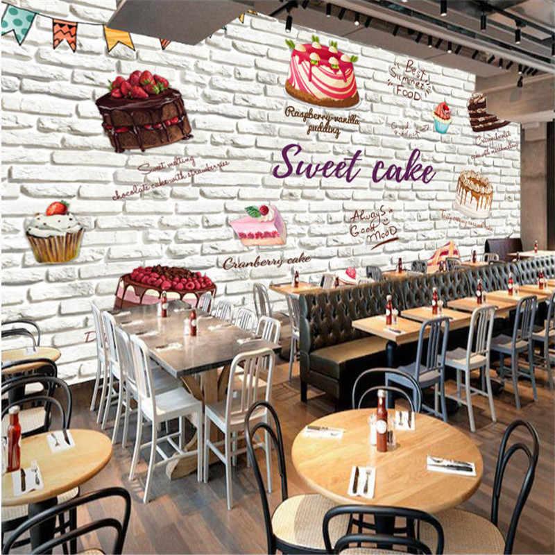 Custom 3d Hand Painted Cake White Brick Wall Background Wallpaper Mural Modern Cake Bakery Shop Industrial Decor Wall Paper 3d Aliexpress