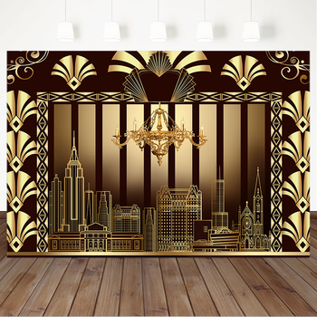 MOCSICKA The Great Gatsby Photography Backdrops Golden Building Gatsby Birthday Party Banner Decoration Photography Background great gatsby