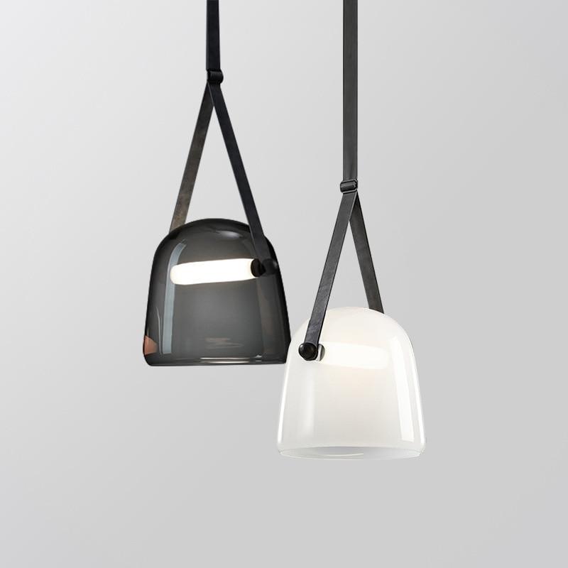 Modern simplicity LED pendant lights Nordic Glass Single head hanging lamp restaurant home deco luminaires bedroom fixtures title=
