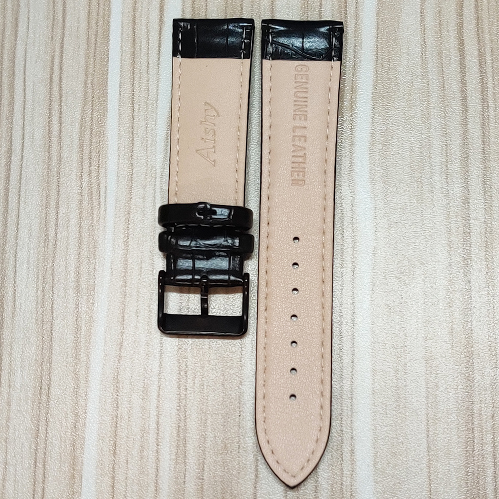 Купить ремешок из натуральной кожи 22 мм черный ремешок для часов нержавеющей
