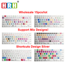 HRH 15PCS  Silver Style Shortcut Hot Keys Design Keyboard cover for MacBook Air Pro Retina 13