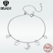 BISAER Bracelet Genuine 925 Sterling Silver Retro Vintage Moon Pendant Chain for Women Luxury Fine Jewelry GXB107