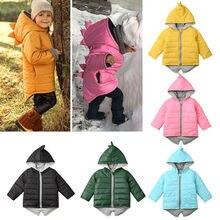 От 1 до 7 лет Детская толстовка на молнии с капюшоном для маленьких мальчиков и девочек теплая куртка Верхняя одежда с объемным рисунком динозавра