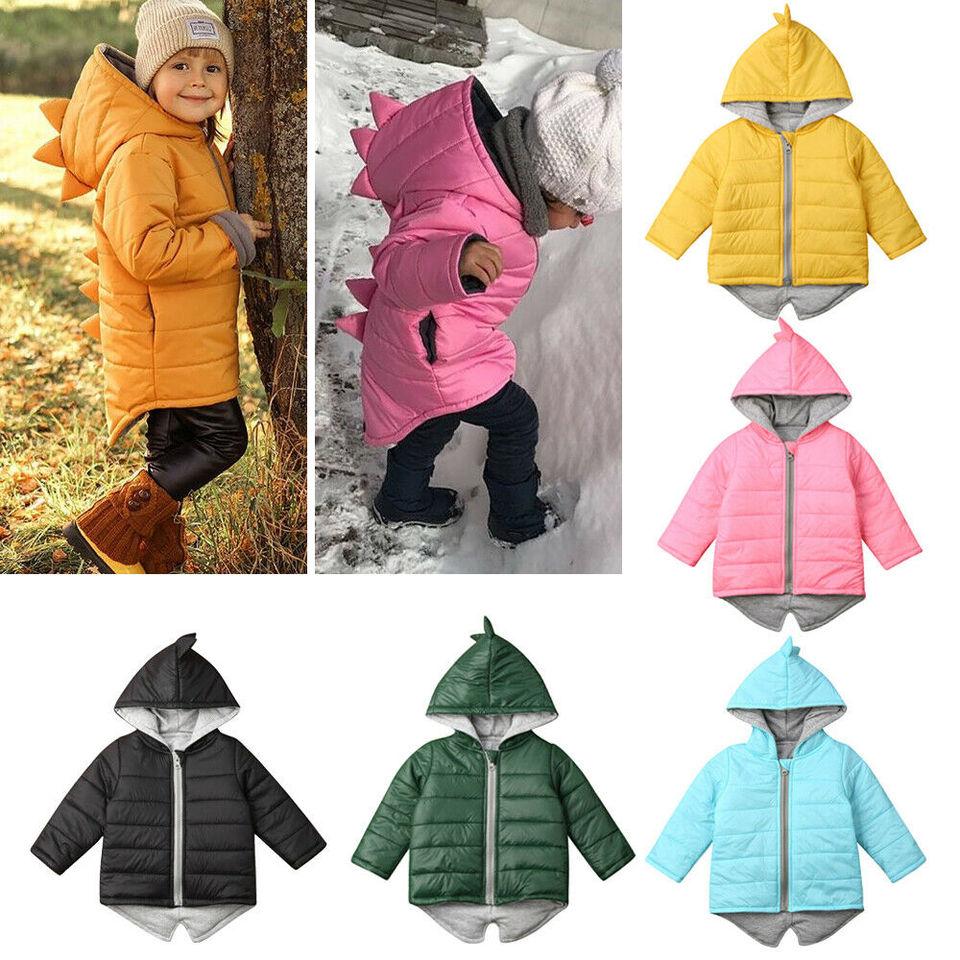 Toddler Kids Boy Cartoon Dinosaur Hoodie Jacket Warm Thick Winter Coat Outerwear