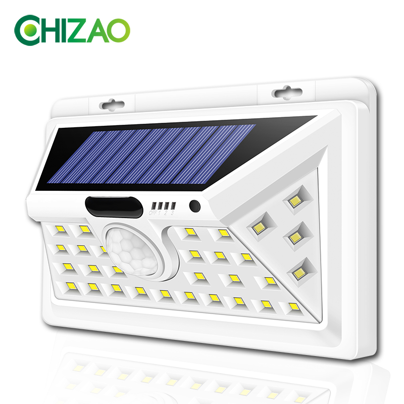 CHIZAO LED Solar lights Outdoor Motion sensor wall lamps Waterproof Emergency light Suitable for Garden Front door Garage Fence|Solar Lamps| |  - title=