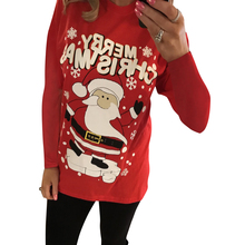 Christmas Women Tops Santa Claus Print Long Tshirt Sleeve T Shirt Xmas Friends Party Camiseta mujer Streetwear D30