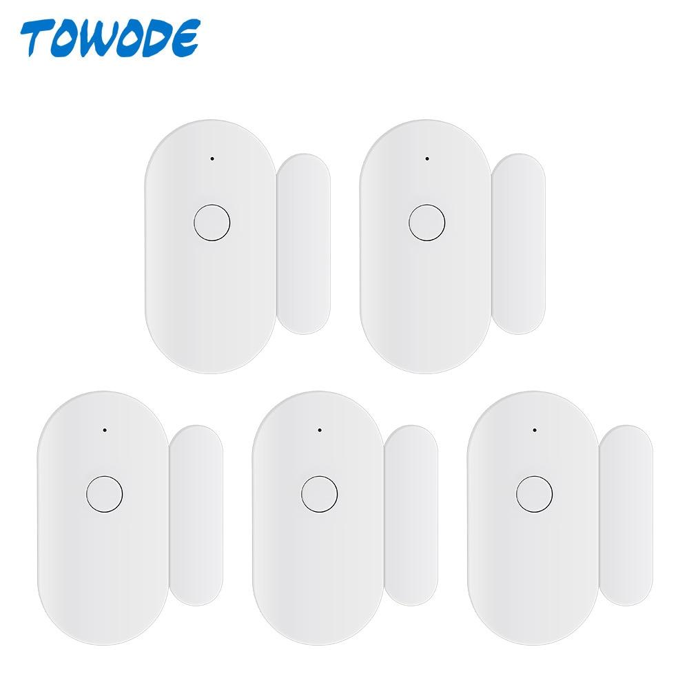 Towode 1 3 5Pcs WIFI Door Sensor TUYA APP Control Door Security  Magnetic Wireless Window Opening Sensor Compatible with Alexa