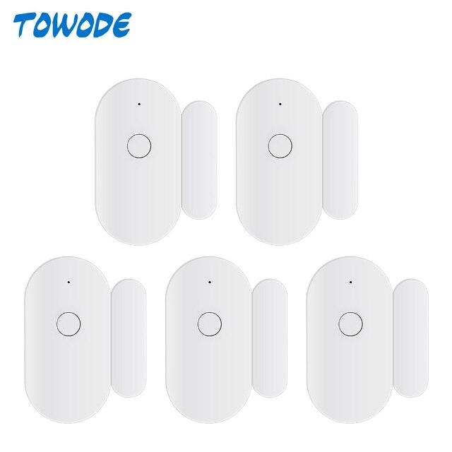 Towode 1/3/5Pcs WIFI Sensore Porta TUYA APP di Controllo di Sicurezza della Porta Finestra di Apertura del Sensore Magnetico Senza Fili compatibile con Alexa