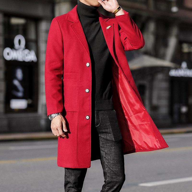 Long Trench Coat Mens Red Steampunk Grey Woolen Jackets Mens Clothing Fashion Winter Coats For Mens Elegante Long Jackets Korean