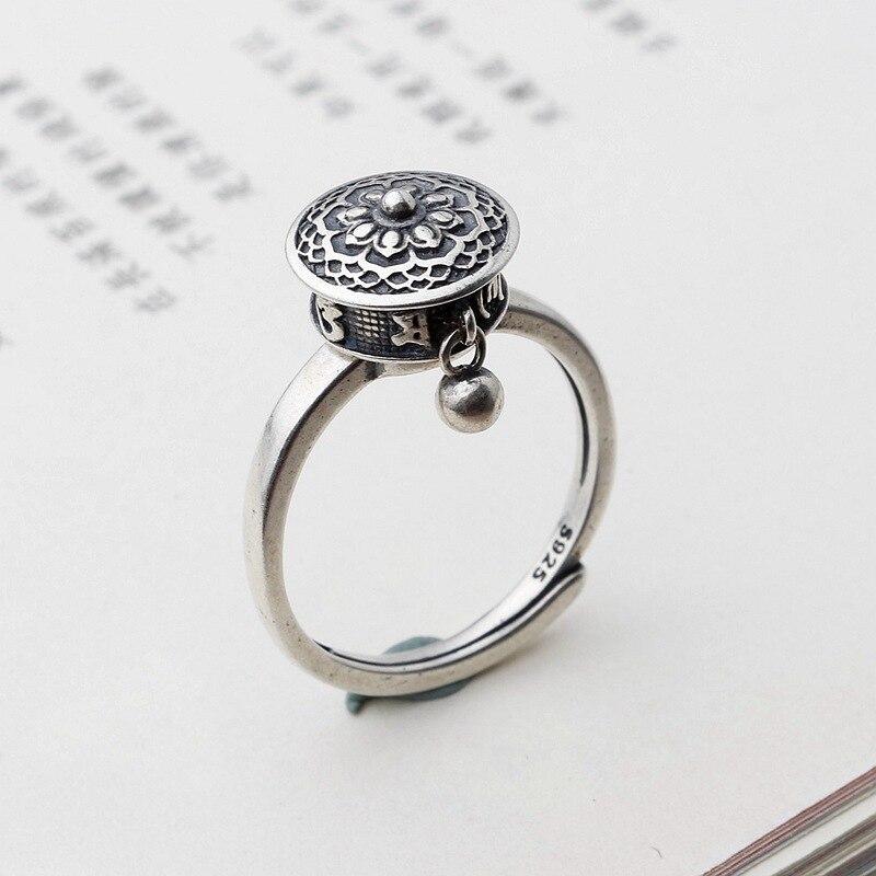 Кольцо, цилиндрическое кольцо с поворотом, ретро украшение в буддистском стиле, шесть символов правды, тайское серебряное кольцо с возможно