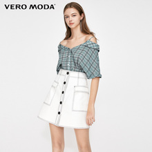 Vero Moda Women's 100% Cotton Off-the-shoulder V-neckline Short-sleeved Plaid Shirt