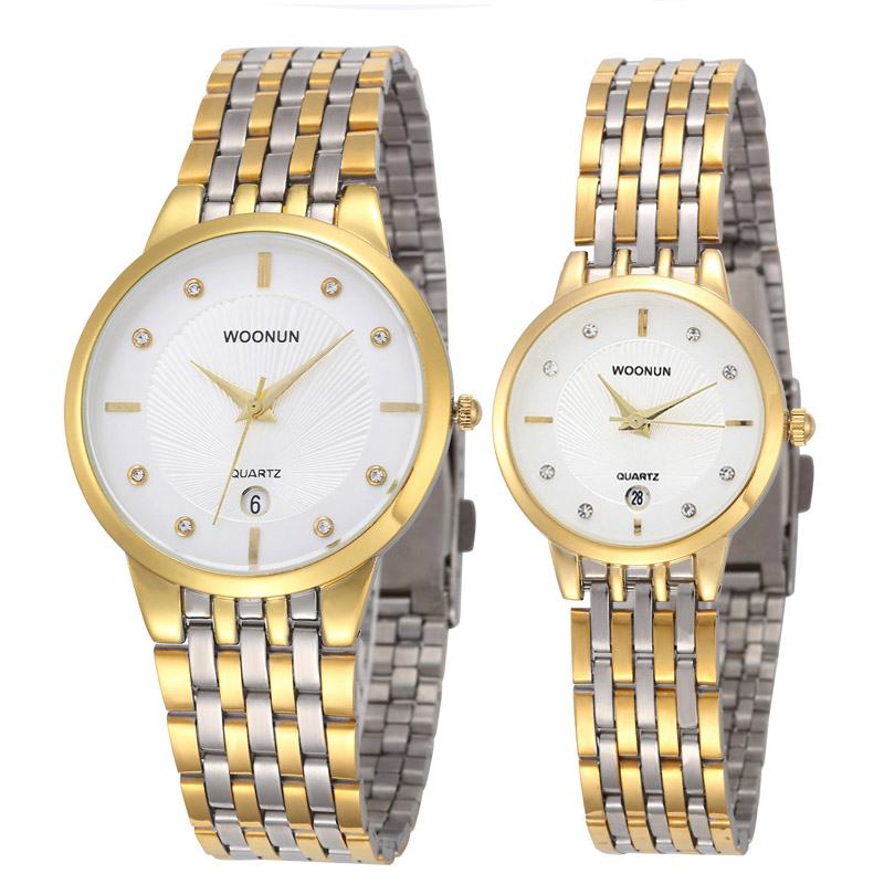Luxury Brand WOONUN Casual Pair Watches Stainless Steel Quartz Couple Watch Fashion Lovers Watches Hours Valentine's Day Gift