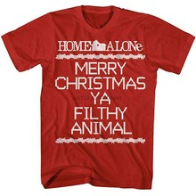 Home Alone Merry Christmas Ya Filthy สัตว์ Crosstitch เสื้อยืด (1)(China)