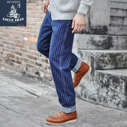 VINTAGE Denim Gestreiften Hosen Vintage Hosen Denim Overalls Männer Jeans Mai Blau Jeans Casual Denim Overalls Männer Wabash Jeans