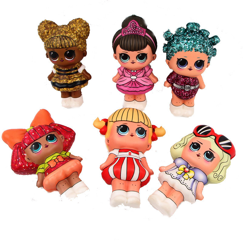 6 Pcs Squishy Lot Mini Squishy PU Set Toys  Surprice Dolls Figures  Stress Relief Funny Gift Decoration 12cm