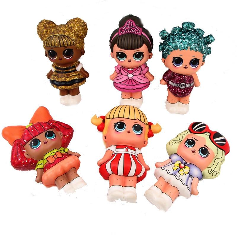 6 Pcs Squishy Lot Mini Squishy PU Set Toys  Surprice Dolls Figures  Stress Relief Funny Gift Decoration 12cm