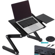 Aluminum Alloy Laptop Table Portable Folding Notebook Desktop Stand With Cooling Fan Sofa Bed Laptop Stand Tray Study Desk