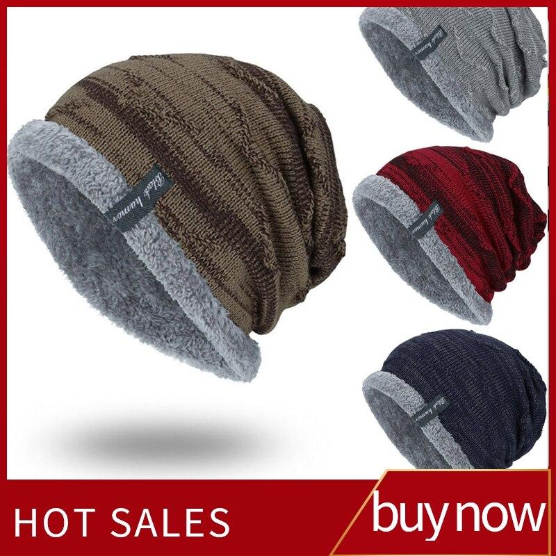 Cap Warm Bonnet-Hat Scarf Beanie Winter Hat Knit Skullies Fleece Boys Dad-Cap Fur Invierno
