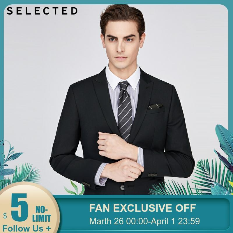 SELECTED Men's Slim Regular Fit Black Jacket Business Blazer SIG|42015X513【Fan Get New Arrivals Coupons In The Description】