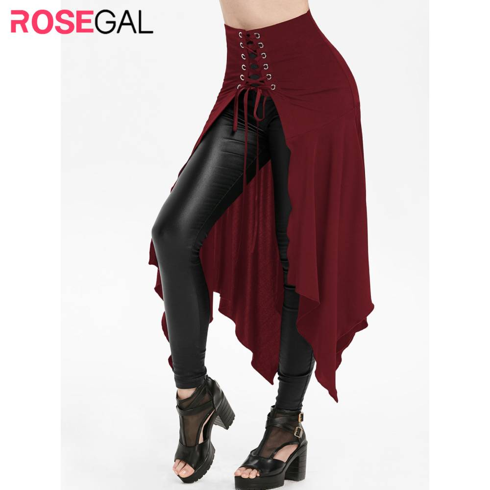 New Fashion Women Long Skirt Plus Size 3XL Halloween Gothic Lace-Up Slit Front Skirts A-Line High Waist Punk Skirt Without Pant