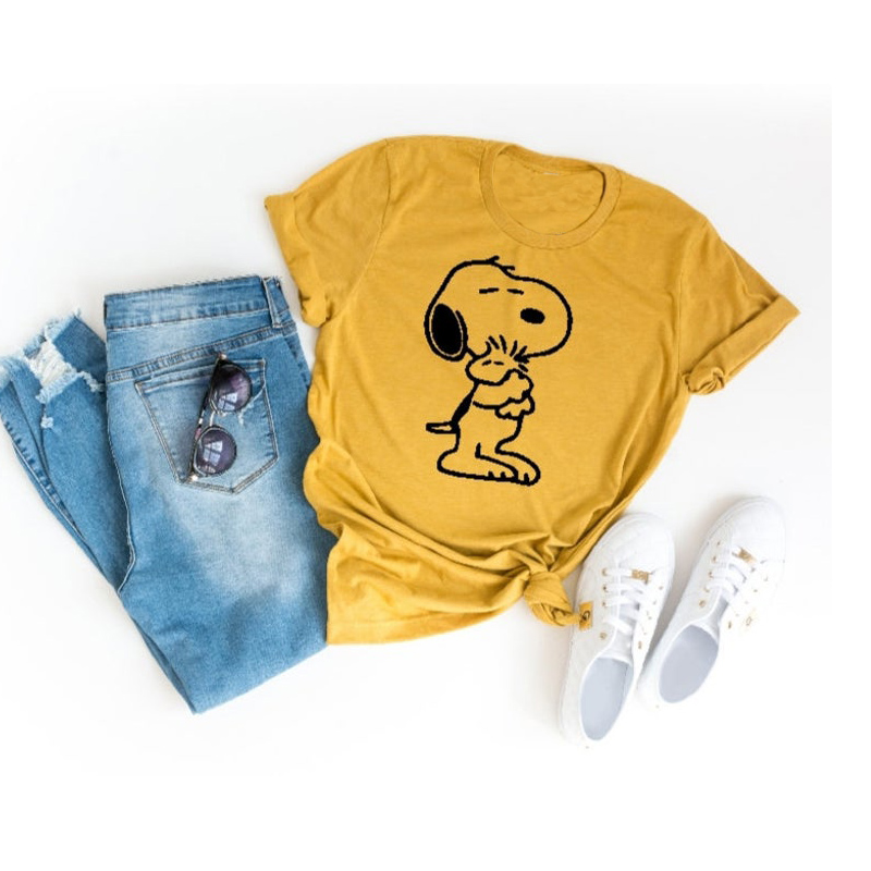 Snoopy Tshirt Women's T-shirts Funny Cartoon Snoopy Hugging Woodstock The Peanuts T-shirt For Lady Girl Top Tee Hipster DropShip