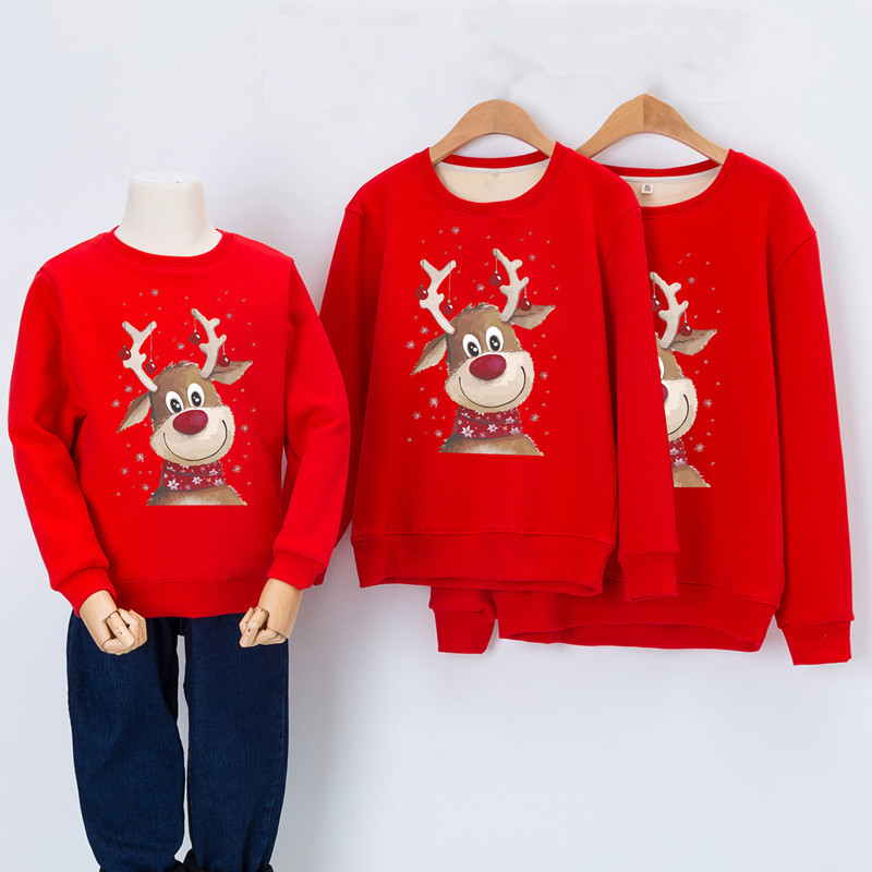 Christmas Sweatshirt Family Look Clothes Elk Deer Family Matching Outfits Winter New Year Xmas Warm Sweater Dad Mom Me Clothing