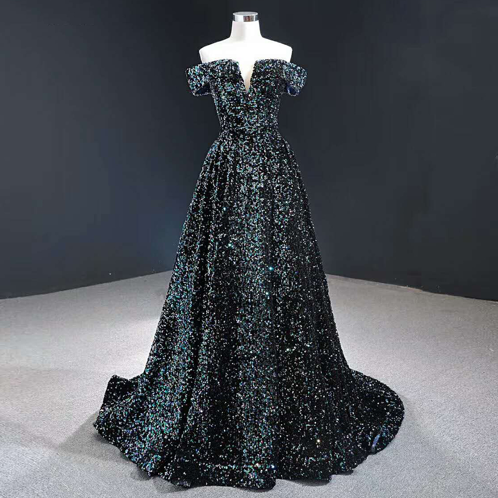 YEWEN Blue Sexy V Neck Luxury Evening Dresses 2019 Latest Design Crystal Lace Evening Gowns Robe De Soiree Prom Elegant Dresses