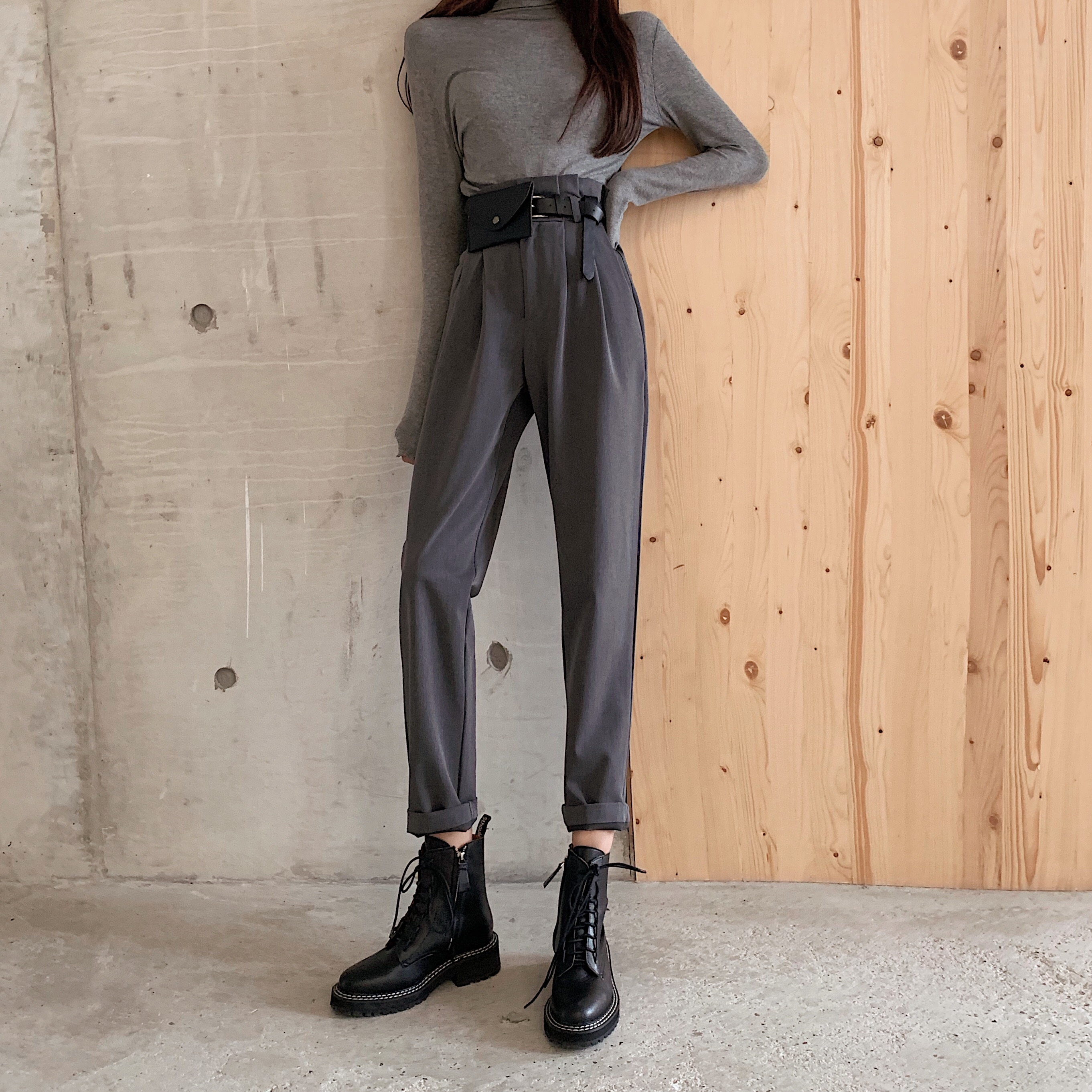 High Waist Harem Pants Elegant Ol Office Straight Trousers Women Black Grey Work Wear Pants Spring Autumn 2019 Vintage Trousers