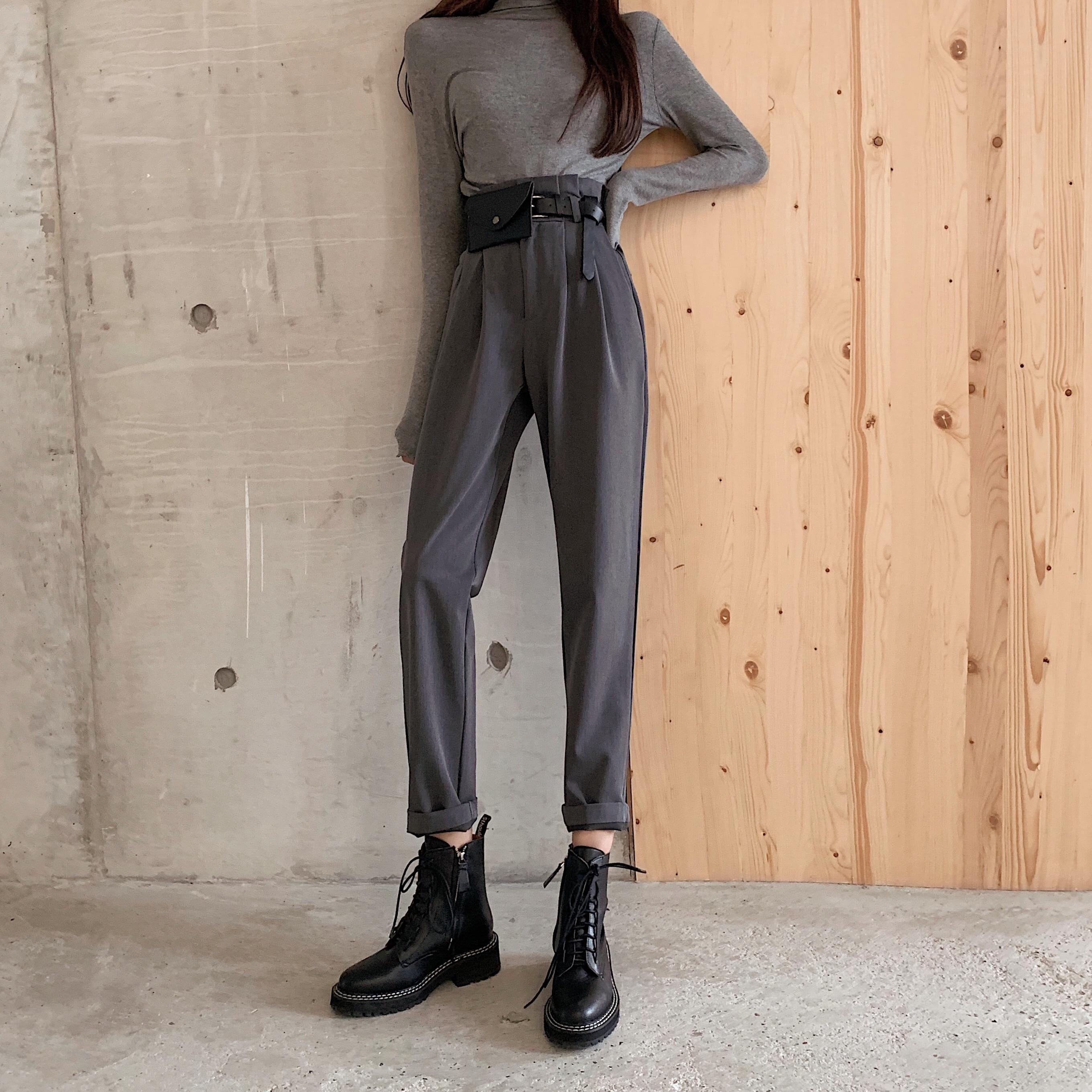 High Waist Harem Pants Elegant Ol Office Straight Trousers Women Black Grey Work Wear Pants Spring Autumn 2019 Vintage Trousers