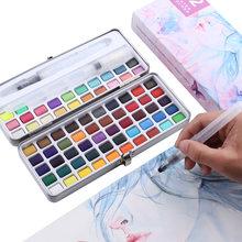 Kit de Peinture Aquarelle avec boîte en fer, 72 couleurs, avec brosse à eau, fournitures d'art de couleur fluorescente métallique