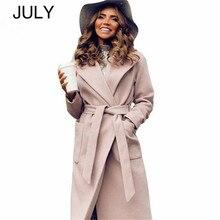 JULY Elegant Long Women's coat lapel 2 pockets belted Jackets solid color coats Female Outerwear пальто женское женское шерстяное пальто