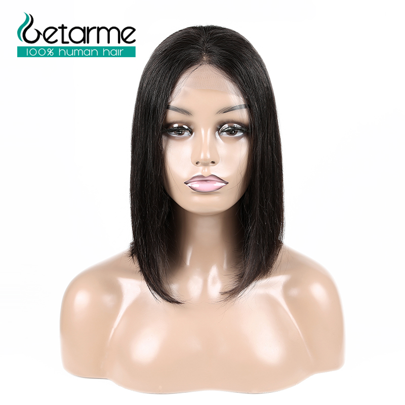 Image 4 - 4x4 Closure Wig Peruvian Short Bob Wigs Lace Closure Human Hair Wigs For Black Women Straight Lace Wig Pre Plucked Non Remy Hair-in Lace Front Wigs from Hair Extensions & Wigs