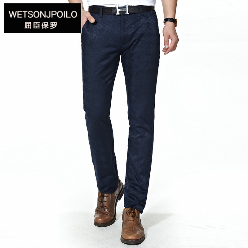 Watson Polo 2019 Men Summer Thin Section Casual Pants Business Slim Fit Pure Cotton Elasticity Straight-Cut No Ironing Blue Pant