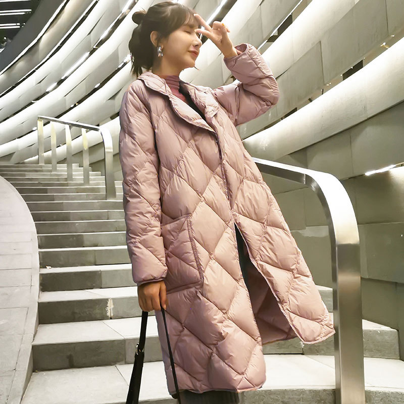 2020 Korean fashion slim down jacket women mid length winter new lightweight long over the knee loose slim coat|Parkas| - AliExpress