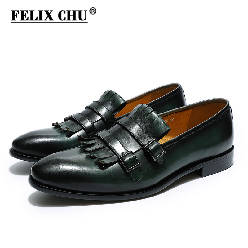 FELIX CHU Classic Mens Loafers Double Monk Strap Genuine Leather Brown Green Casual Dress Shoes Men's Wedding Party Banquet Shoe