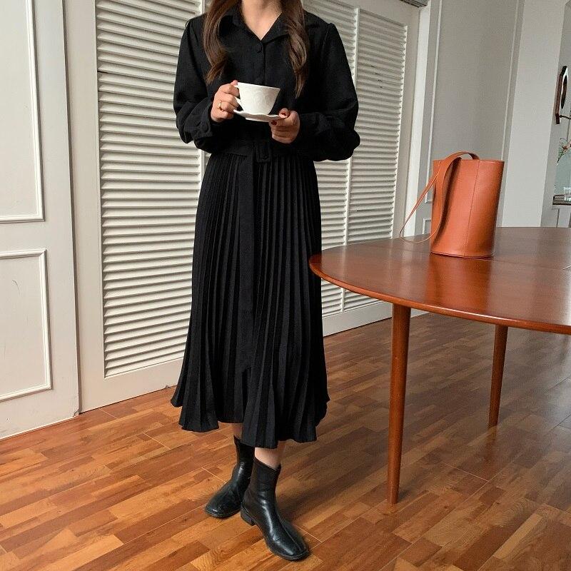H83c8616a15be4c49bb5886eff0709d1d9 - Autumn Turn-Down Collar Long Sleeves Pleated Solid Midi Dress