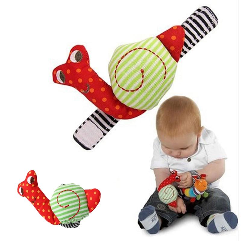 Cute Newborn Baby Rattle Toy  Soft Infant Plush Hand Bells Kids Educational  Development Toys Cartoon Snail Cotton Wrist Strap