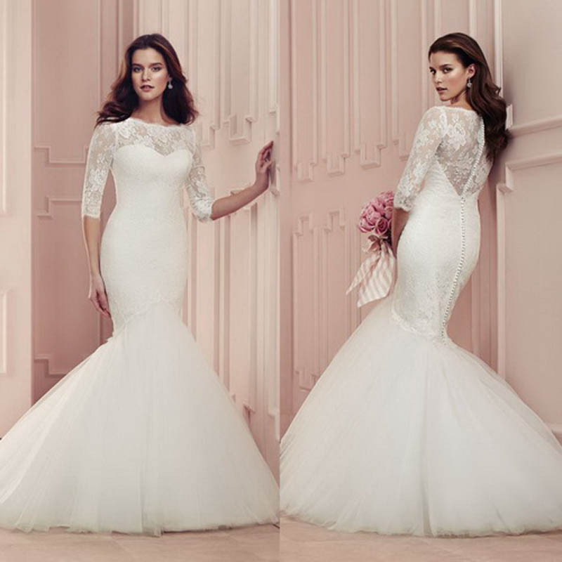Hot Long Lace Elegant Mermaid Wedding Dresses With Sleeves Wedding Dresses Bridal Gown Appliques Tulle Floor Length 2016