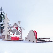 CHEAPE Christmas Wooden Bell Elk Cabin Shape Candlestick Ornament Candle Home Desktop Decor(China)