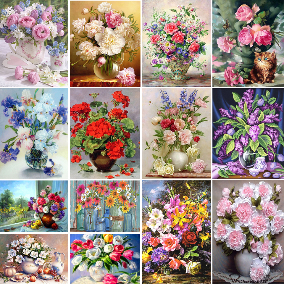 5D DIY Diamond Painting Flower Full Square/Round Diamond Embroidery Vase Rose Rhinestone Mosaic Cross Stitch Kit Decoration Gift