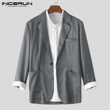 INCERUN Mens Striped Blazers Long Sleeve Lapel Coats Streetwear One Buckle Suits Fashion Elegant Clothes Business Brand Blazers