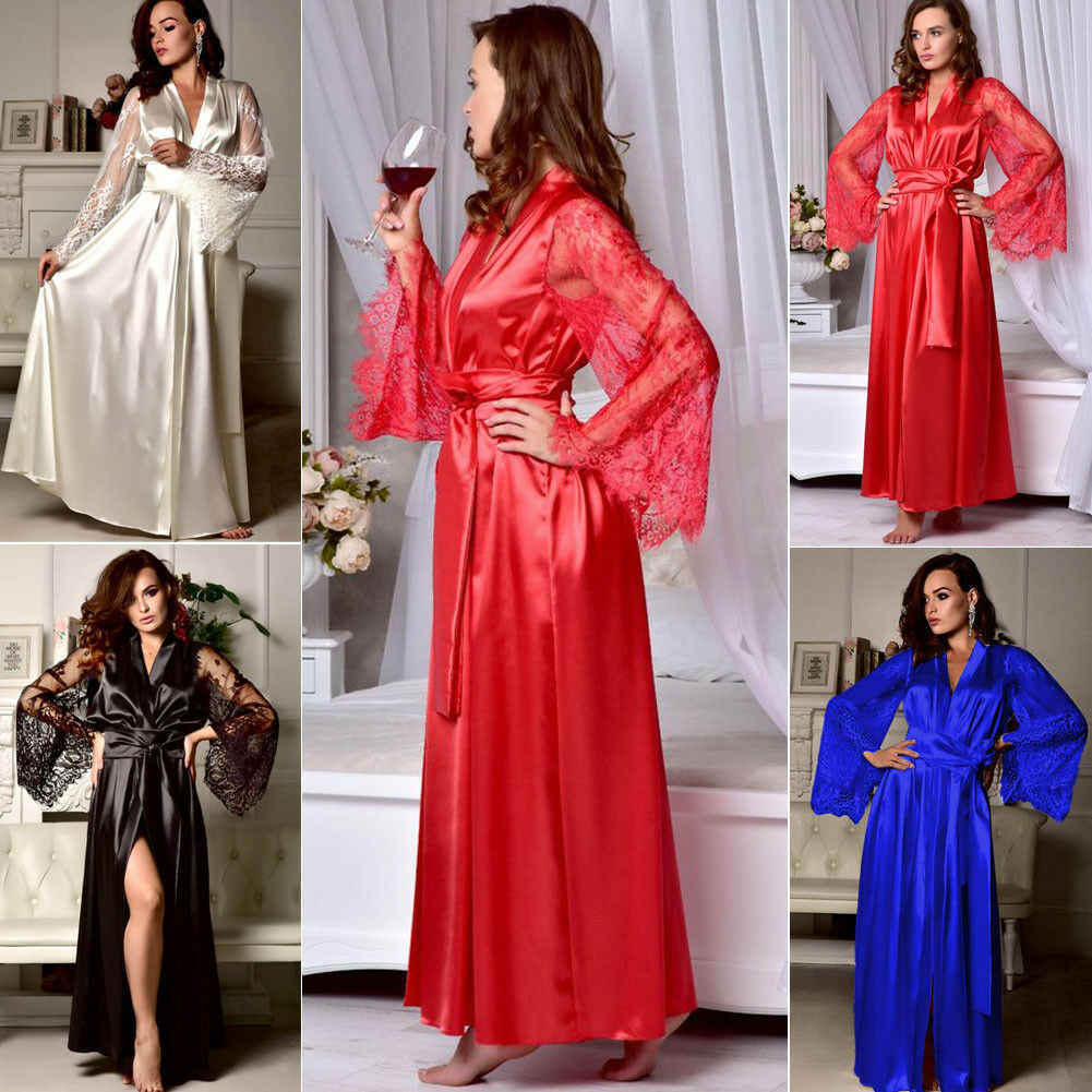 Sexy Womens Lace Sleep Dress Ladies Lace Long Sleeve Bride Kimono Robe Satin Silk Lace Night Dress Gown Sleepwear