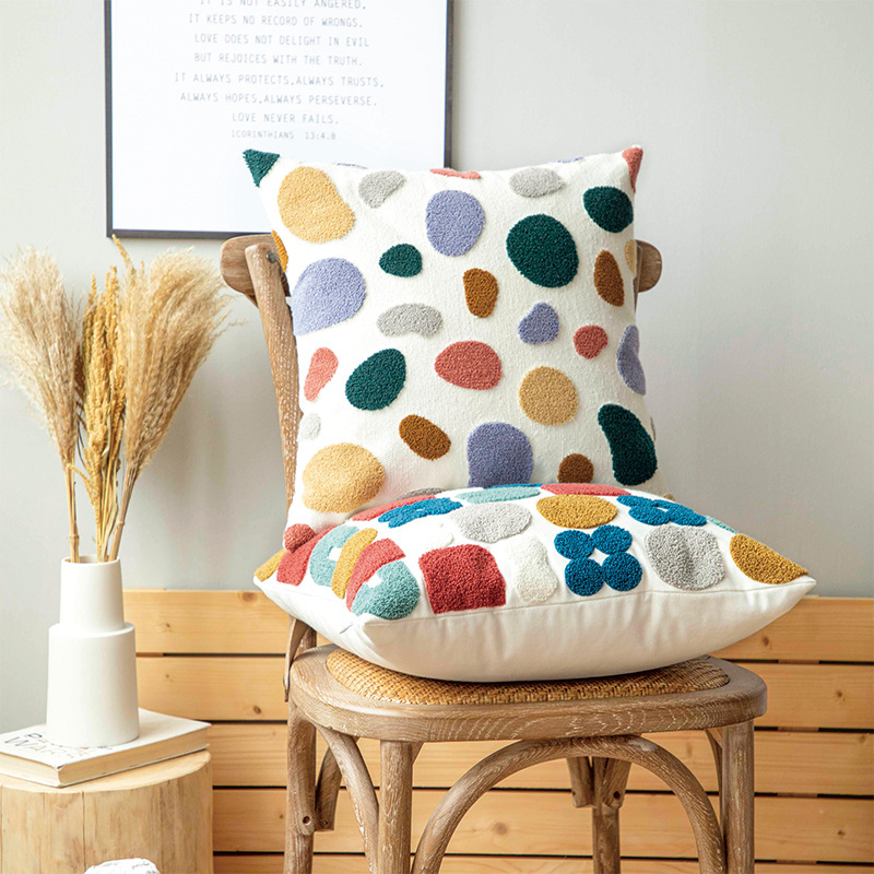 New 45x45cm/30x50cm Cute Dots Embroidery Pillow Cover Soft Cozy Floral Cushion CoverHome Decoration for living room Kids Room